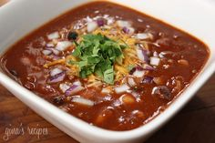 Crock Pot 3 Bean Turkey Chili - I loved this easy recipe topped with a little low fat cheddar, chopped red onion and cilantro.