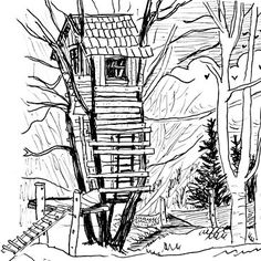 tree house in the french countryside Tree House Drawing, Cool Sketches, Amazing Sketches, Family Tree Art, Tree Hut, Tangle Patterns, Green Life, Art Plastique, Colouring Pages