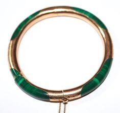 Antique Vintage Green Malachite Etched 14K Yellow Gold Bangle Bracelet 25 Grams     eBay
