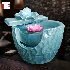 Ordovician ceramic fish tank home decoration water fountain humidifier feng shui wheel small decoration US $73.14