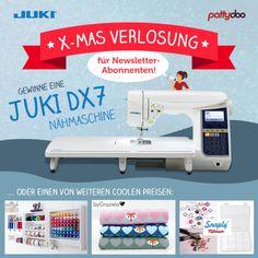 Mit etwas Glück können Nähfans bei der großen pattydoo X-Mas Verlosung eine tolle JUKI Nähmaschine u.a. gewinnen! Einfach beim pattydoo Newsletter anmelden und automatisch an der Verlosung teilnehmen (bis zum 18.12.16 um 23.59 Uhr).