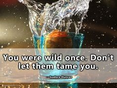 You were wild once. Don't let them tame you. -- Isadora Duncan