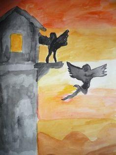 De val van Icarus- 2KB-  aquarel