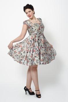 Silver Floral Swing Dress - Lady Vintage