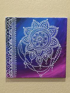 Galaxy Background with Mehndi Style Mandala Henna by GonzSquared #henna #mehndi #mixedmedia #hennapainting #mehndipainting #hennadesign #mehndidesign #galaxy #mandala #dreamcatcher