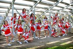 Cheerleading bleachers 17 Do this on a cloudy day to get lighting even # Cheer photography Dance Team Pictures, Cheer Team Pictures, Cheer Picture Poses, Cheer Poses, Senior Pictures, Senior Pics, Squad Pictures, Picture Ideas, Photo Ideas