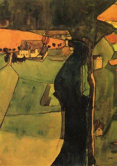 Town on the Blue River   Egon Schiele   oil painting #landsapes
