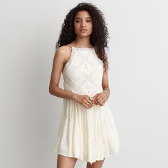 AEO Hi-Neck Crochet Dress ($50) ❤ liked on Polyvore featuring dresses, ivory, white babydoll dress, high neck white dress, white doll dress, embroidery dress and white embroidered dress