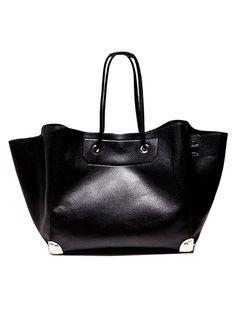 4f725551721 Black Textured Shopper Bag with Pocket Inside Ladies Bags