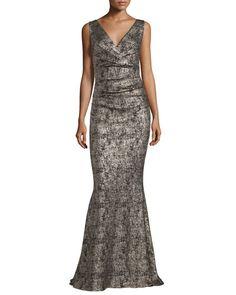 TCR3A Talbot Runhof Bossa Sleeveless Metallic Mermaid Gown, Gold