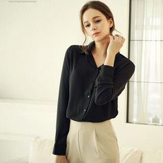 FIONTO Button Women Blouses Solid Women Summer Long-Sleeve Turn-Down Collar Shirts Female Chiffon Clothing Ladies tops A3053