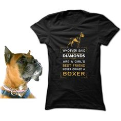 Whoever said diamonds are a girl's best friend never owned a boxer by teedino on Polyvore featuring outfit, dogs and Tshirt