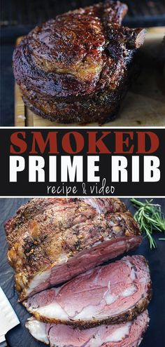 Perfect Smoked Prime Rib for any holiday or special occasion. Full recipe plus a… Perfect Smoked Prime Rib for any holiday or special occasion. Full recipe plus a video tutorial on cooking the perfect prime rib in a smoker. Traeger Recipes, Smoked Meat Recipes, Barbecue Recipes, Steak Recipes, Grilling Recipes, Game Recipes, Dinner Recipes, Chicken Recipes, Vegetarian Grilling