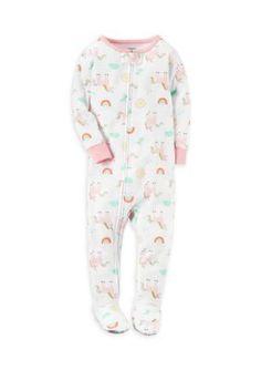 Carter's Girls' 1-Piece Snug Fit Cotton Pjs Toddler Girls - White - 3T
