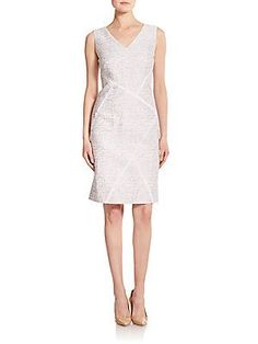 Lafayette 148 New York Kiersten Jacquard Cotton & Silk Dress - White -