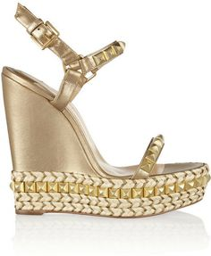 Christian Louboutin Cataclou 140 embellished metallic leather wedge sandals on shopstyle.com