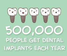 Dental implants come in different sizes, heights and types. OVer a half million people get dental implants every year.and that number is rapidly growing. Are you missing a tooth that needs to be replaced with an implant? Dental Implant Procedure, Implant Dentistry, Dental Implants, Cosmetic Dentistry, Dental Hygiene, Dental Health, Dental Care, Oral Health, Health Diet