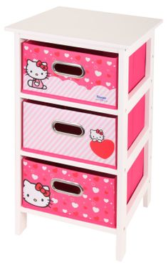 Hello Kitty 3 Drawer White and Pink Bedroom Storage Unit by Sanrio *EXCLUSIVE*: Amazon.co.uk: Kitchen & Home
