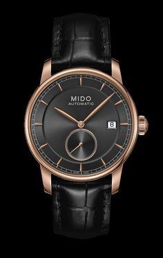 Mido Men's Baroncelli II Black dial with rose colored bezel  style #: M8608.3.13.4 http://www.midowatch.com/en/content/m86083134