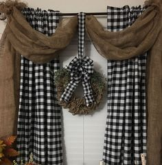 I made this burlap swag to hang over my buffalo plaid curtains. I made the ruff. I made this burlap swag to hang over my buffalo plaid curtains. I made the ruff… – Buffalo P