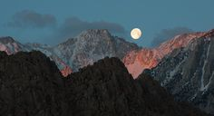 Moonset over the Sierra Nevada mountains, from the Alabama Hills near Lone Pine, California.
