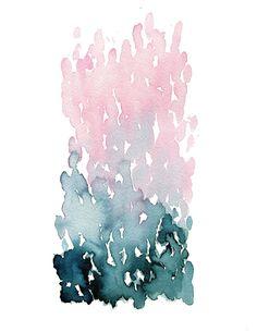 The Mirror Lake, blue art, blue abstract, watercolor print, indigo ...