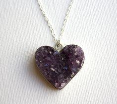 purple amethyst heart geode necklace