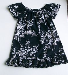 Fancy Black and White Floral Peasant Dress by daydaysdesigns, $12.00