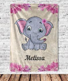 Personalized Elephant Baby Blanket – The perfect baby shower gift for that new mom to be! Give this warm, silky, cozy, luxurious, ideal for snuggling Elephant Baby Blanket as a gift to your loved ones. Personalized Throw Blanket, Personalised Blankets, Elephant Baby Blanket, Baby Girl Blankets, Valentine Gifts For Kids, Baby Monogram, Throw Blankets, Shopping Mall, Cyber