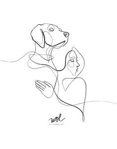 Dog Line Drawing, Dog Line Art, Line Drawing Tattoos, One Line Tattoo, Line Tattoos, Dog Tattoos, Tattoo Drawings, Body Art Tattoos, Art Drawings