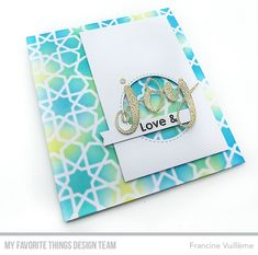 Stamps: Filled with Joy Die-namics: Joy, Inside & Out Stitched Circle STAX, Hearts in a Row - Vertical Stencil: Geometric Stars Francine Vuillème Star Stencil, Stencils, Create Birthday Card, The Die, Geometric Star, Birthday Sentiments, Wink Of Stella, Cardmaking And Papercraft, Mft Stamps