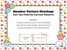Day 13 freebie - number patterns and their rules (recording sheet and answer key included)