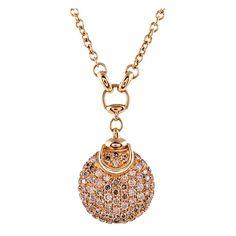 1stdibs | GUCCI 'Horsebit' Diamond Yellow Gold Drop Necklace