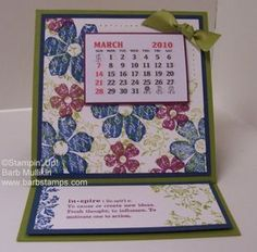 stampin up calendars | Here is the front, I used Not Quite Navy , Rich Razzleberry and Old ...