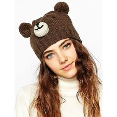 Brown Cute Bear Design Pom Pom Bobble Beanie Hat (285 MXN) ❤ liked on Polyvore featuring accessories, hats, bobble beanie, bobble hat, pom pom hat, brown bear hat and acrylic hat