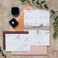 Marble wedding invitation suite by Simply b | copper envelope liner | copper painted edge | hand-dyed silk ribbon by Frou Frou Chic | Venue: The Commons 1854, Topsfield, MA New England Wedding, North of Boston, Northshore, Newburyport, Massachusetts  www.simplybprints.com  Photo: Catherine Threlkeld Photography