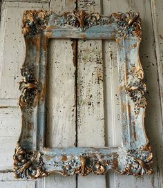 Distressed blue picture frame accented gold wood gesso rustic antique farmhouse hints of white shabby cottage home decor anita spero design Distressed picture frame wall. Distressed Picture Frames, Antique Picture Frames, Antique Pictures, Painted Picture Frames, Antique Frames, Gold Picture Frames, Distressed Wood, Vintage Frames, Big Picture Frame Ideas
