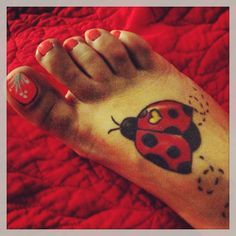 cool ladybug foot tattoo #ink #YouQueen #girly #tattoos
