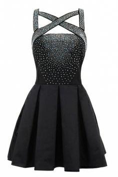 Shop: http://www.celebboutique.com/parisa-black-stretch-satin-and-crepe-crystallised-skater-dress-en.html