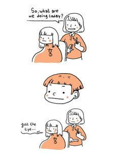 The haircut struggle. A month ago, I did a gif for the first time ever, and broke all boundaries of animation in the process. Hair Illustration, Digital Illustration, Funny Cartoons, Funny Comics, Hair Gif, Short Jokes, Cool Shapes, Hair Sketch, Try Not To Laugh