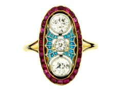 Diamond ruby & plique a jour enamel ring, French circa 1905 from Berganza London Hatton Garden