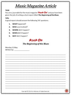 THE BLUES!!! A collection of written activities and research tasks for middle school music students!!!! #musiceducation #musedchat