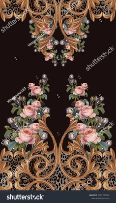 Find flowers rose design stock illustrations and royalty free photos in HD. Explore millions of stock photos, images, illustrations, and vectors in the Shutterstock creative collection. Textile Pattern Design, Baroque Pattern, Textile Patterns, Textile Prints, Fabric Design, Print Design, Print Wallpaper, Flower Wallpaper, Victorian Curtains