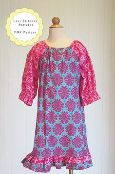 Livi Stitches Ava Dress Pattern Pattern consist of: 1. PDF Pattern with Individual Pattern Pieces for Sizes 6-12, 12-18M, 18-24M, 2, 3, 4,