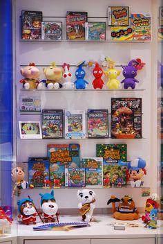 Animal Crossing, Pikmin, Rhythm Heaven, Custom Robo, and Chibi Robo Franchise Cabinet at Nintendo World