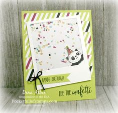 Today's Simple Sunday card just makes me smile! Ask me how you can earn the Party Panda stamp set FREE! Making Greeting Cards, Greeting Cards Handmade, Handmade Tags, Homemade Birthday Cards, Homemade Cards, Panda Party, Kids Cards, Craft Fairs, Stampin Up Cards