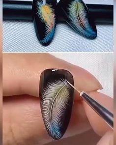Feather Nail Designs, Feather Nail Art, Gel Nail Art Designs, Nail Art Designs Videos, Nail Art Videos, Disney Nail Designs, Nail Art Hacks, Nail Art Diy, New Nail Art