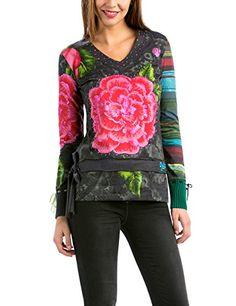 Desigual TS_ELVI-Camiseta Mujer,    Negro (Negro) S #camiseta #friki #moda #regalo