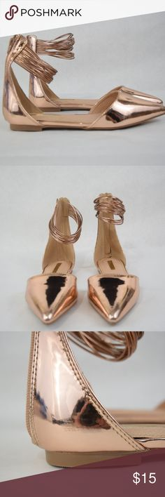 LILIANA Ivy Pointed Toe Strappy Flat (Sz 7.5) LILIANA Ivy Pointed Toe Strappy Flat (Sz 7.5) Rose gold flats with strappy ankle detail and zip-back closure. Some shelf wear, ink stain on bottom sole. Liliana Shoes Flats & Loafers
