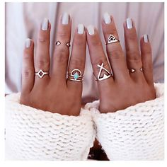 6 piece geometrical ethnic style ring set at only $1.99